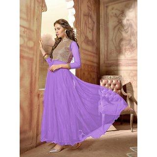 Fabfirki New Attractive Lavender Embroidered Net Salwar Suit