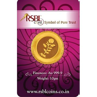 RSBL eCoins 10 gm Gold Coin 24kt purity 9999 Fineness-WITH TAX INVOICE
