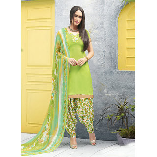 Swaron White And Green Crepe Printed Salwar Suit Dress Material (Unstitched)