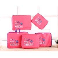 EVANA Set Of 5 Travel Bag Organizer, luggage Organiser (Pink)