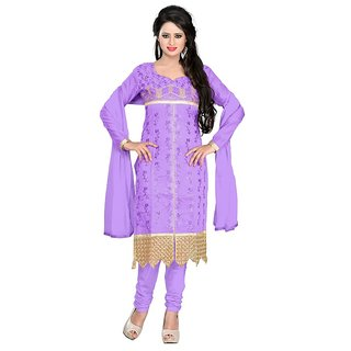 Shree Vardhman Lavender Chanderi Top  Straight Unstiched Salwar Suit  Dress Material