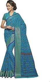WEAVERSSHOP Vastrangsarees Printed Gadwal Cotton, Silk Saree( Blue Colour)