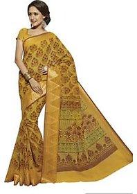WEAVERSSHOP Vastrangsarees Printed Gadwal Cotton, Silk Saree( Yellow Colour)