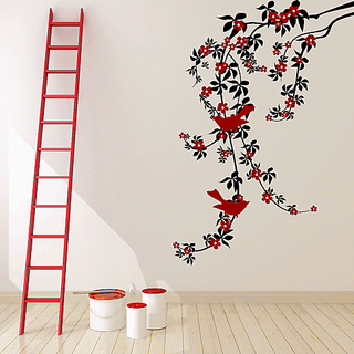 DeStudio Red Floral Vine Wall Stickers (Wall Covering Area  85cm X 120cm)