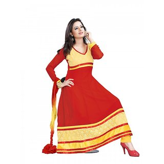 19dbf56995 Shree Vardhman Chhaya Georgette Red Unstitched Anarkali salwar suit dress  material