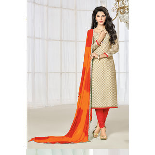 Sareemall Beige Cotton Printed Salwar Suit Dress Material
