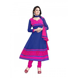 902adf7cdf Shree Vardhman Chhaya Georgette Blue Unstitched Anarkali salwar suit dress  material