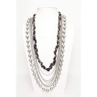 Alloy Metal And Satin Ribbon Nacklace, Multi-Strand Necklace, Beaded Necklace