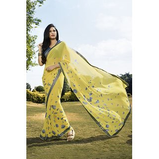 Sareemall Yellow Printed Gerogette Saree With Unstitched Blouse 7SHP7002