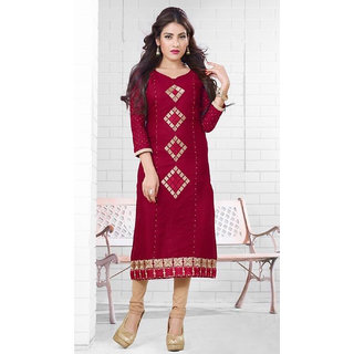 N Fashions MCM Saavi Red colour cotton Kurti