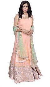 Rajyalakshmifashions Pink Georgette Floral Semi- Stitched Dress Material