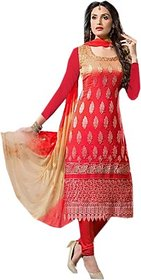 rajyalakshmifashions fashion Cotton Embroidered Salwar Suit Dupatta Material red (Un-stitched)