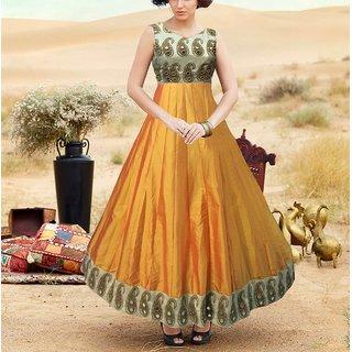 Fabfirki New Pretty Yellow Silk Mirror Work Long Anarkali Suit
