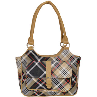 Fdfashion Brown PU Casual Checks Handbag
