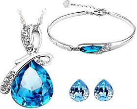 Caratcube Silver Plated Blue Alloy Pendant With Chain  Earrings for Women