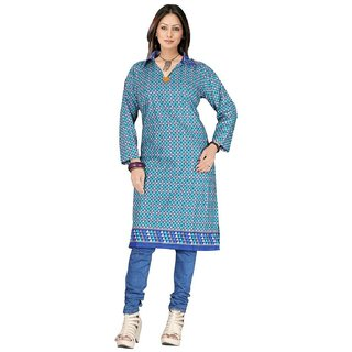 fancy designer womans unstich blue kurti