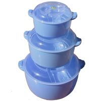 3 Pcs. Microwaveble Twist Serving Set With Lid