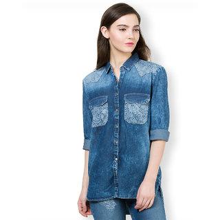 Tokyo Talkies Blue Shirt Collar Long Sleeve Womens Casual Shirts