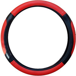 SAIAUTOACCESSORIES  Hand Stiched Steering Cover For Maruti Alto K10(Red, Black, Leatherite)