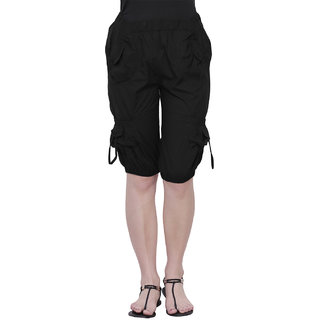THE RUNNER Black Cotton Capri