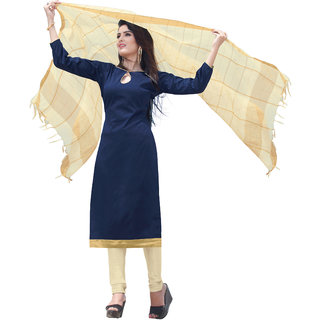 Khoobee Presents South Silk Unstitched Dress Material(Dark Blue,Beige)