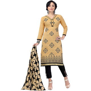 Khoobee Presents Embroidered Lakda Jacquard Dress Material (Beige,Black)