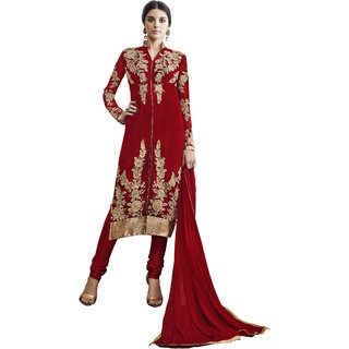 Khoobee Presents Embroidered Georgette Dress Material (Red)
