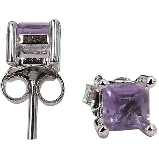 0.69 CTS, 4mm Square Shape Genuine Amethyst .925 Sterling Silver Earrings