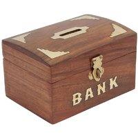 Craft Art India Brown Handmade Wooden Rectangular Money Bank / Piggy Bank / Coin Boxcai-Hd-0198-B