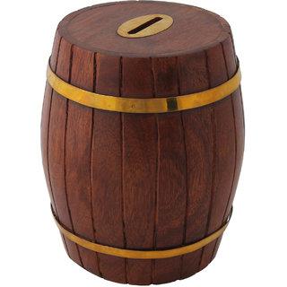 Craft Art India Handcrafted Wooden Barrel Shape Money Bank /Piggy Bank / Coin Boxcai-Hd-0041