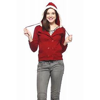 Vvoguish Maroon Fleece Solid Jacket For Women