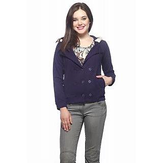 Vvoguish Blue Fleece Solid Jacket For Women