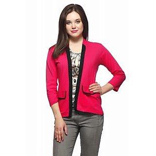 Vvoguish Pink Fleece Solid Jacket For Women