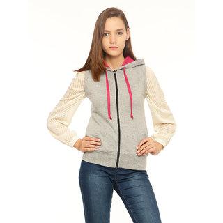 Vvoguish Grey Fleece Solid Jacket For Women
