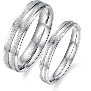 RM Jewellers 92.5 Sterling Silver Amazing Best Princess Couple Band For Men and Women
