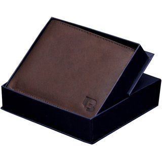 Blue Fox Men Formal Brown Genuine Leather Wallet