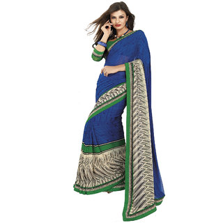 Riya Blue And Cream Color Fancy Cotton Saree