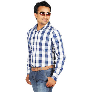 Canopus Mens White With Blue Casual Checks Shirt