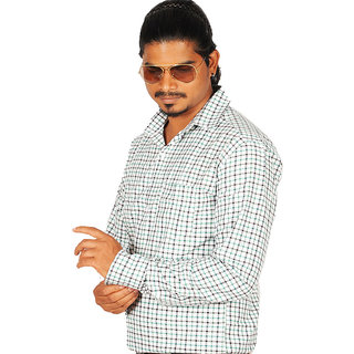 Canopus Mens White Casual Shirt With Black & Green Checks