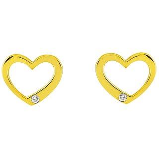 Sparkles 0.03 Ct. Beautiful 9Kt Gold & Diamond Heart Shaped Earrings (Design 1)
