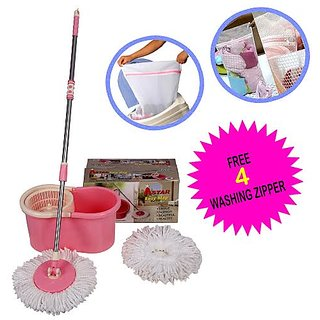 A-Star Pink White Plastic 360 Degree Rotation Steel Mop With 2 Microfiber Mop Heads And Hand Gloves Set Of 2