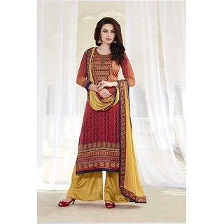 Sareemall Brown Satin Embroidered Salwar Suit Dress Material