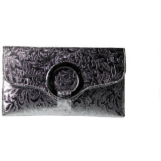 BagsHub Silver Textured Sling-cum-Clutch Bag