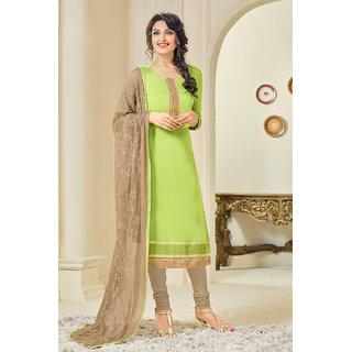 Sareemall Green Embroidered Chanderi Salwar Suit Material