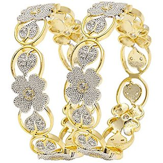 American Diamond Floral Shape Gold Plated Bangles For Women