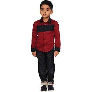 I-Voc Boys Solid Casual Red Blue Shirt