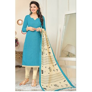 Sareemall Sky Blue Cotton Embroidered Salwar Suit Dress Material (Unstitched)