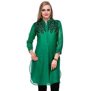 Yepme Green Silk Printed Casual Kurti