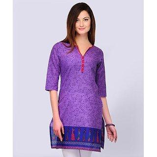 Yepme Purple Cotton Printed Casual Kurti