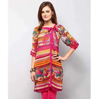 Yepme Multicolor Polyester Striped Casual Kurti